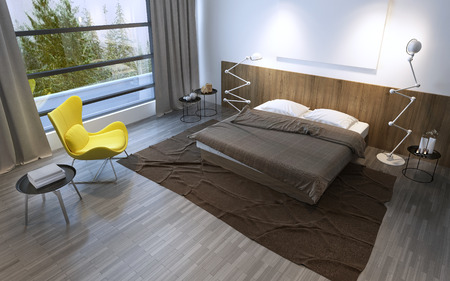 flooring: Interior of the comfortable bedroom in brown color, panoramic window and beautiful nature outside. 3D render
