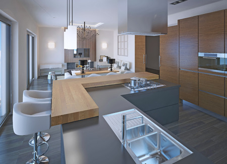 Neoclassical kitchen design with bar. Mixed wooden and stone countertop, gas stove. Brown zebrano cabinets. 3D render