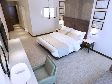 Contemporary hotel room trend. Minimalist interior of room with double bed, dressing table and tv. 3D render Standard-Bild