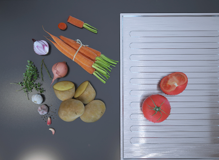 soapstone: Fresh sliced vegetables lying on a gray table top. 3D render