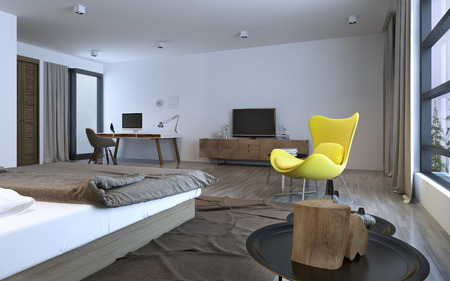 yellow walls: Bedroom idea: minimalist interior. Brown furniture and white walls, bright yellow chair on center of room, decorations. Inspiration. 3D render