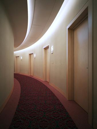 Interrior of bright hotel complex, corridor. Art deco styled round hall with doors. 3D render Stock Photo
