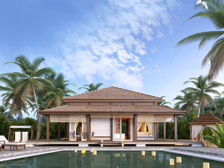 resort beach: Large luxury bungalows on the islands. 3D render. Stock Photo