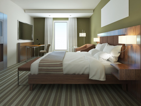 bedroom bed: Beautiful apartment furnished, comfortable bedroom. Brown color in bedroom furniture, using of olive colors on modern interior. 3D render