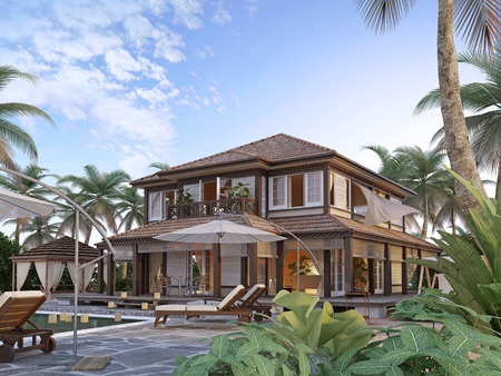 oceanic: Large luxury villa on oceanic islands. Two-storey villa with large windows and a balcony. 3D render. Stock Photo