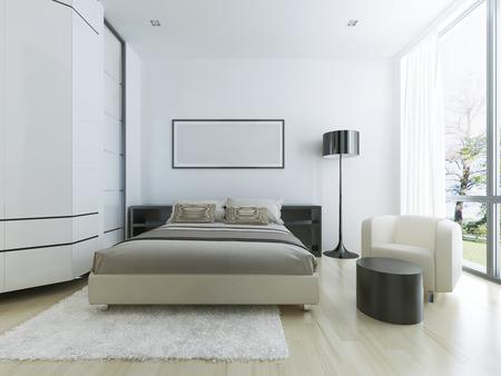 Luxury hotel room in white. Large panoramic window, steel floor lamp, light wood parquete flooring and white wool tick pile carpet. 3D render Archivio Fotografico