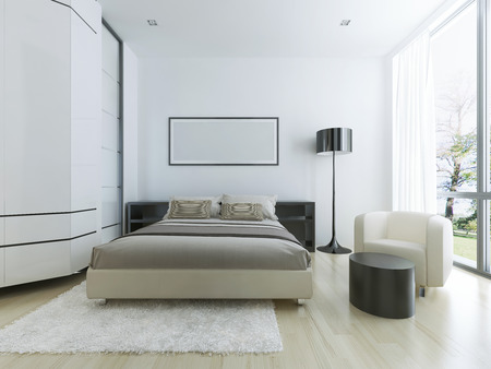 Luxury hotel room in white. Large panoramic window, steel floor lamp, light wood parquete flooring and white wool tick pile carpet. 3D render Reklamní fotografie