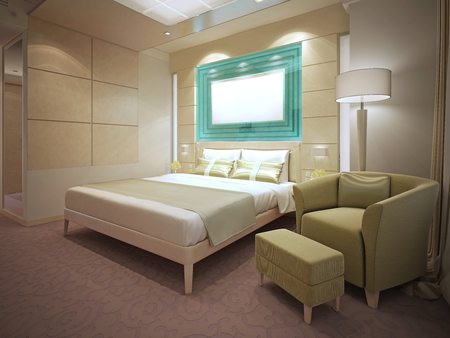 carpet and flooring: Idea of modern flat interior. Cream walls, peach pattern carpet flooring. 3D render