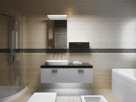 Hermoso cuarto de baño interior, luz de la tarde. Vista frontal de la consola lavabo con espejo. 3D render