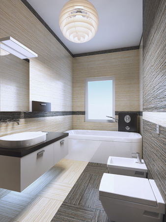 limestone: Bright expensive bathroom with neon lights, zebrano tile in cream and pale brown colors. Elegant white furniture with black decorations. 3D render