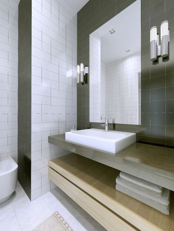 Wash basin with large framless mirror. White and dark grey matt tile in interior. 3D render Stock Photo