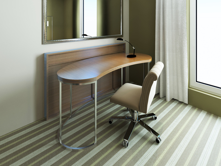 carpet and flooring: Small table near mirror in bedroom. Empty table with tiny black lamp in room with pale olive walls and carpet flooring. 3D render