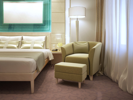 footrest: Armchair with footrest in modern hotel. 3D render