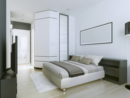 master bedroom: Luxurious and spacious master bedroom in modern residence of white color. Corner wardrobe with sliding doors. 3D render
