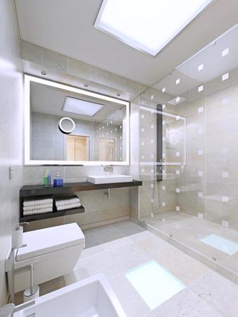 유행: 현대적이고 세련된 집 욕실 인테리어입니다. 3D 렌더링 스톡 콘텐츠