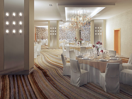 carpet and flooring: Restaurant Interior Design in contemporary style. Served round tables with cloth covered chairs in large hall with colored carpet flooring. 3D render