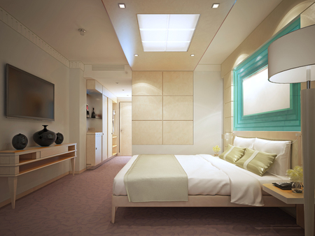 panelled: luxury bedroom in hotel. Panelled walls, bright interior. 3D render Stock Photo