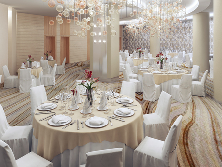 cream colored: Modern restaurant with nobody. White furniture, cream colored room. 3D render