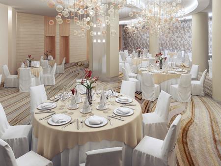 recepcion: restaurante moderno con nadie. muebles de color blanco, de color crema ambiente. 3D rinden Foto de archivo