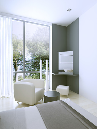view an elegant wardrobe: Dressing table in expensive hotel room near large panoramic window. Nature and simplicity. 3D render