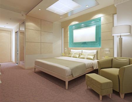 Eigentijds hotel appartementen. Perzik kleur in het interieur. Ikea meubilair. 3D render