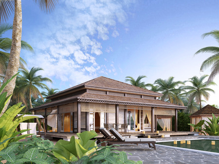 freeport: Large luxury bungalows on the islands. 3D render. Stock Photo