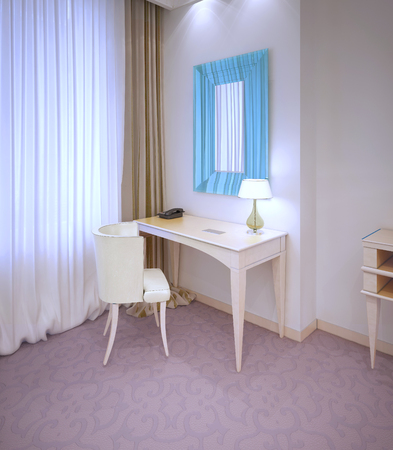 Dressing table in expensive hotel room near window. 3D render Stock Photo