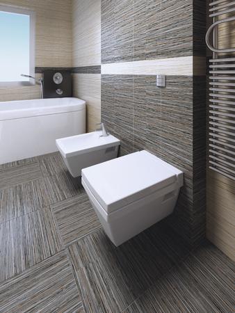 #50513904   WC Und Bidet Im Modernen Badezimmer Mit Zebrano Gestreiften  Fliesen. 3D übertragen