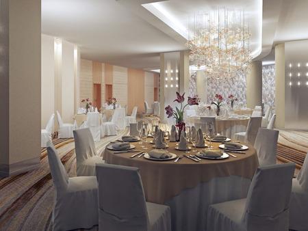 ボールルーム、アールデコ様式のレストランでのバンケット ホール。おしゃれな大きい祭典のために場所を準備します。3 D のレンダリング
