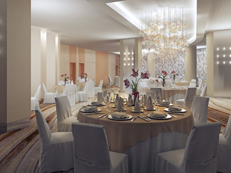 Ballroom, banquet hall in restaurant in art deco style. Fashionable prepared place for large celebration. 3D render Standard-Bild