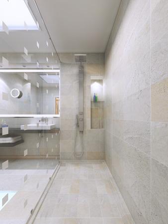 유행: 아름다운 샤워, 내부 볼 수 있습니다. 액세서리 틈새. 3D 렌더링