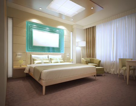 poster bed: Luxury modern hotel room in light colors. Large wall storage system behind bed. Mockup poster. 3D render Stock Photo