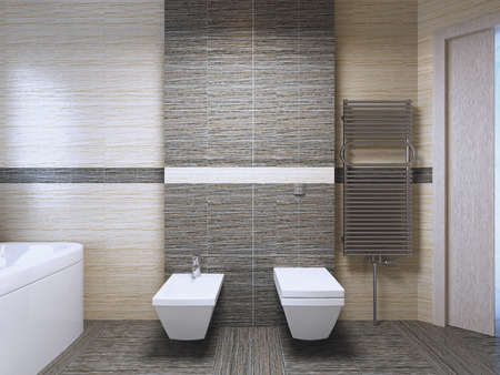 limestone: Bathroom with zebrano tile trend. 3D render