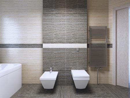 bathroom tile: Bathroom with zebrano tile trend. 3D render