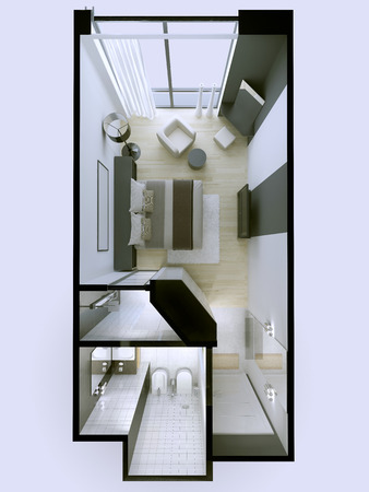 roofless: Interior of 3 star hotel apartments in white and gray colors roofless. 3D render