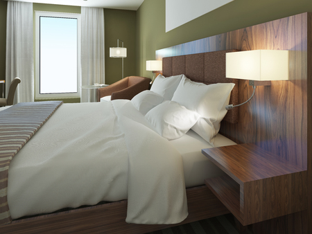 sconces: Minimalist hotel room with beautiful dressed double bed. Brown bedhead, wooden wall system with sconces. 3D render Stock Photo