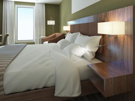 #50514000   Minimalist Hotelzimmer Mit Schöner Gekleidet Doppelbett. Brown  Bedhead, Hölzerne Wandsystem Mit Leuchtern. 3D übertragen