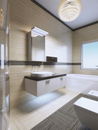 limestone: Bathroom Furniture Ideas. Hanging furniture in white color with black decorations. 3D render