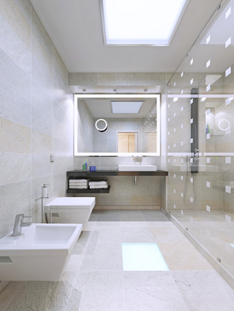 wall design: Large bathroom with shower room. 3D render