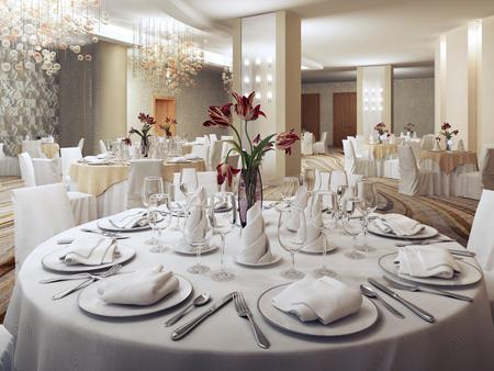 레스토랑에서 개인 파티 연회장. 라운드 붉은 꽃으로 테이블을 제공합니다. 아무도 없습니다. 3D 렌더링