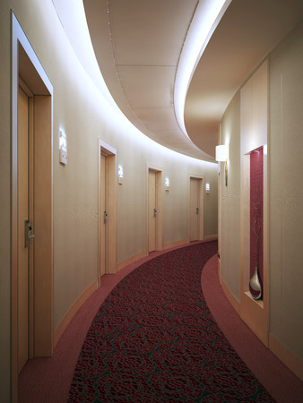 many doors: Spacious light hotel corridor in modern style with many doors leading into rooms. Electronic card lock doors. 3D render Stock Photo