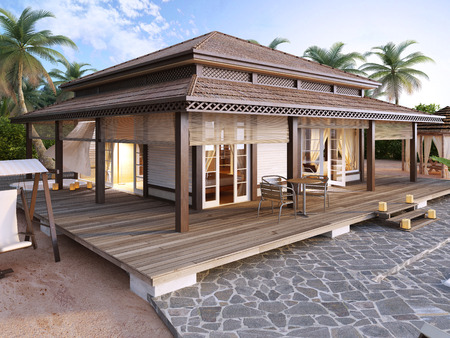 inground: Large luxury bungalows on the islands. 3D render. Stock Photo