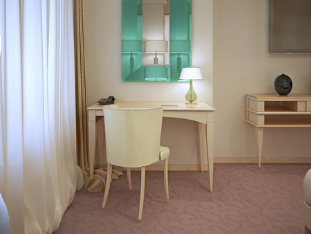 wall mirror: Cream dressing table with large wall mirror. Tuqruoise color in modern interior. horizontal. 3D render