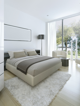 bedroom design: Minimalist style in interior of bedroom in private house. Floor to ceiling windows and balcony. 3D render