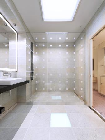 明るい白いバスルームのガラスのパーティションでシャワー。シンプルでエレガントな国際 3 D レンダリング