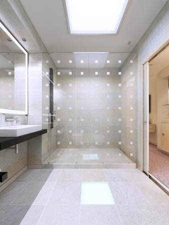 Shower with glass partition in bright white bathroom. Simple and elegant interior. 3D render Stockfoto