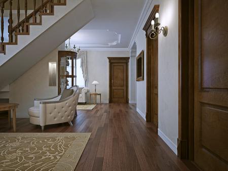 puertas de madera: Sala de estar en casa privada. puertas de madera maciza. 3D rinden Foto de archivo