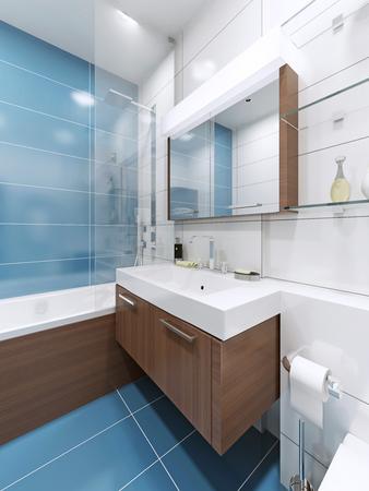 cabine de douche: Couler console dans la salle bleue avec un grand miroir avec lampe. 3D render