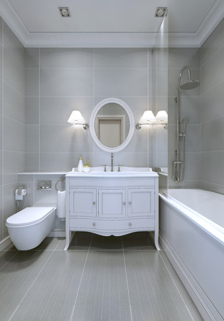 Design of classic bathroom with light grey walls. 3D render