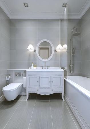 piastrelle bagno: Progettazione di bagno classico con pareti grigio chiaro. rendering 3D